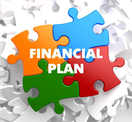 Financial Plan on Multicolor Puzzle on White Background.